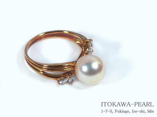 あこや真珠リングパール リング <9.1mm>K18・ダイヤモンド0.23ctアコヤ真珠 R-7143【当店のクーポンを是非ご利用下さい】