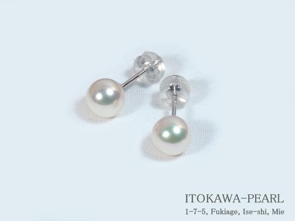 あこや真珠ピアス<6.8mm>スタッド・K14WG PE-6667【当店のクーポンを是非ご利用下さい】