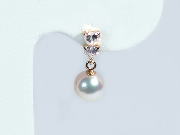 あこや真珠ピアスパールピアス<6.1mm>キュービック・スタッド・K18アコヤ真珠 PE-6562【当店のクーポンを是非ご利用下さい】