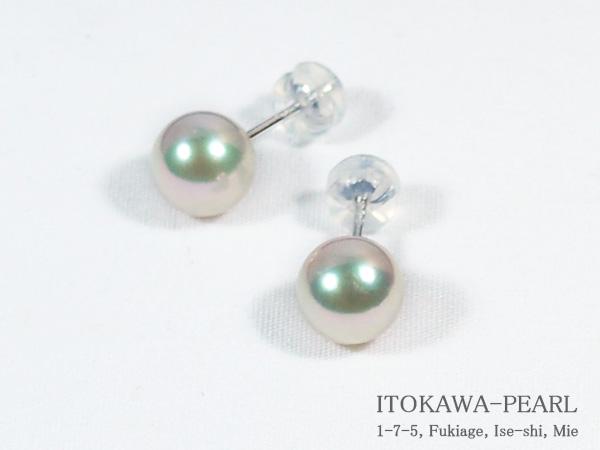 花珠真珠あこや真珠ピアス 7.7mm スタッド 正規品送料無料 PE-6929 新色追加 当店のクーポンを是非ご利用下さい K14WG鑑別書付