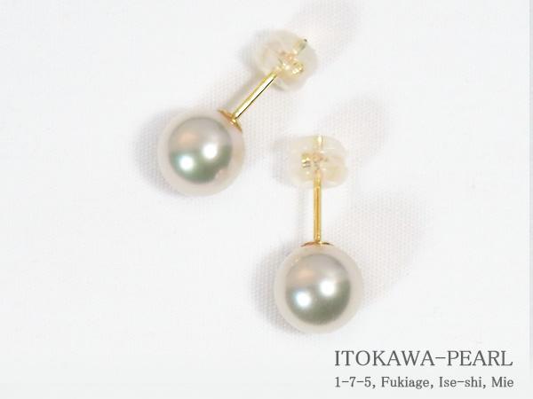 花珠真珠あこや真珠ピアス<7.8mm>スタッド・K18YGPE-7027【当店のクーポンを是非ご利用下さい】