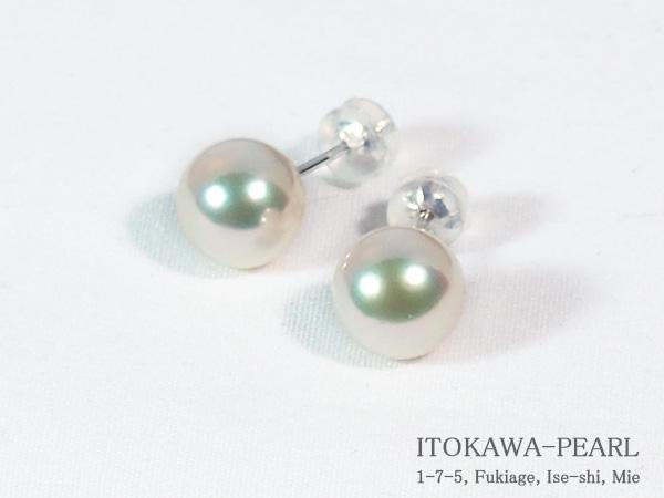 あこや真珠ピアス<8.8mm>スタッド・K14WG PE-7044【当店のクーポンを是非ご利用下さい】