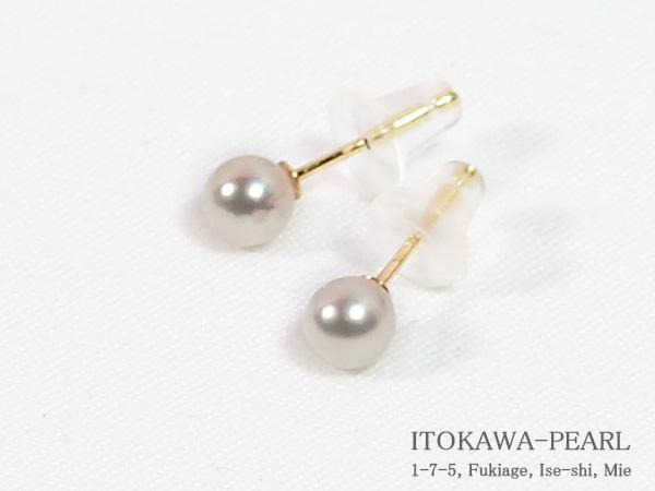 あこや真珠ピアス 4.1mm 超激安特価 スタッド PE-7239 K18YG 当店のクーポンを是非ご利用下さい 与え