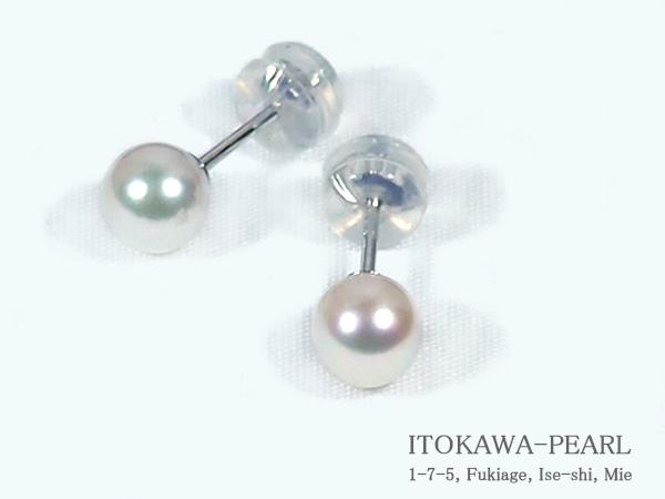 あこや真珠ピアス<5.5mm>スタッド・K14WG PE-6951【当店のクーポンを是非ご利用下さい】