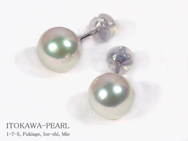 無調色 花珠真珠あこや真珠ピアス<9.1mm>スタッド・PT900鑑別書付 PE-6989【当店のクーポンを是非ご利用下さい】