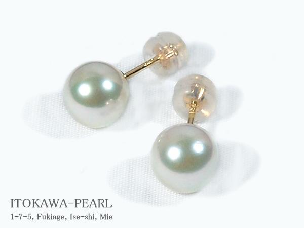 あこや真珠ピアス<8mm>スタッド・K18YG PE-6991【当店のクーポンを是非ご利用下さい】