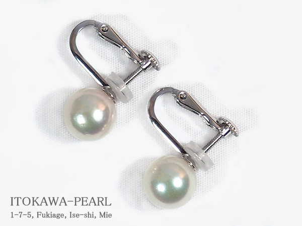 花珠真珠あこや真珠イヤリング ◆高品質 8.1mm ネジバネ式 並行輸入品 K14WG鑑別書付 当店のクーポンを是非ご利用下さい E-4696
