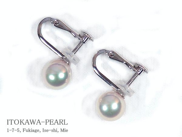 あこや真珠イヤリング 7.7mm ネジバネ式 激安特価品 数量は多 当店のクーポンを是非ご利用下さい E-4710 K14WG
