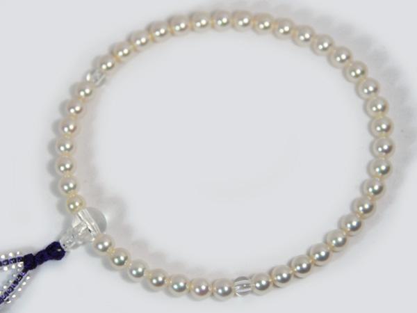 ホワイト系パール念珠(数珠)<6~6.5mm>あこや真珠念珠(数珠)人絹(紫)アコヤ真珠数珠 J-445【当店のクーポンを是非ご利用下さい】