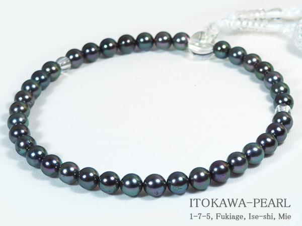 グレー系あこや真珠念珠 予約販売品 数珠 6.5~7mm 人絹 蔵 J-454 当店のクーポンを是非ご利用下さい 白