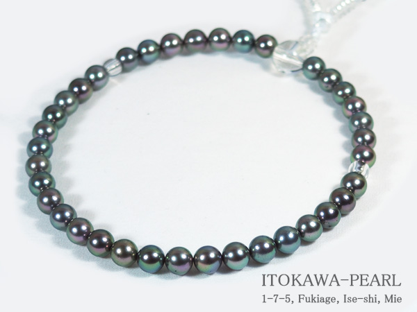 グレー系あこや真珠念珠(数珠)<6.5~7mm>人絹(白)J-455【当店のクーポンを是非ご利用下さい】