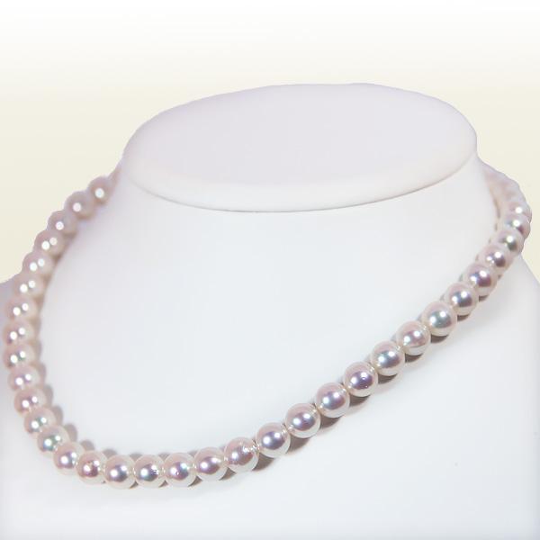 ホワイト系無調色あこや真珠ネックレスパールネックレス<8~8.5mm>アコヤ真珠 N-11268【当店のクーポンを是非ご利用下さい】