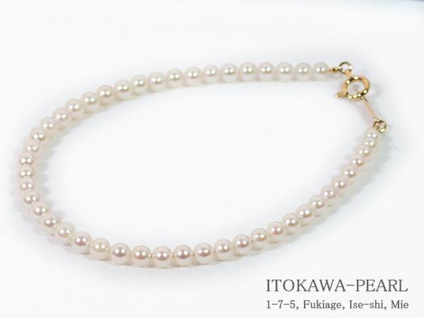 あこや真珠ブレスレット<3~3.5mm>引き輪とプレートタイプ/K18YG(17cm)V-1638【当店のクーポンを是非ご利用下さい】