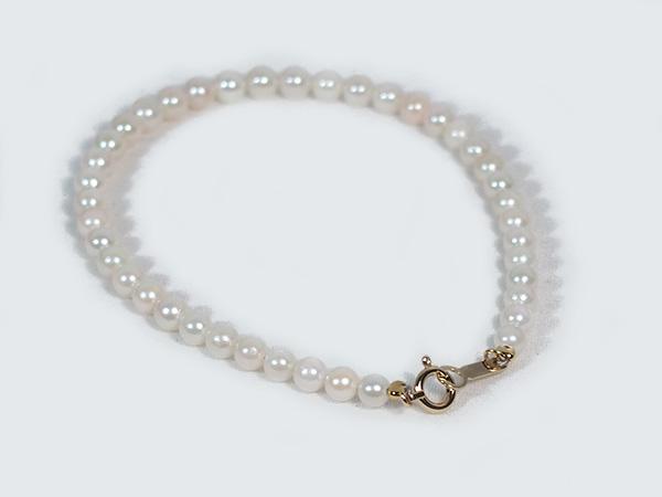 あこや真珠ブレスレットパールブレスレット<3.5~4mm>引き輪とプレートタイプ/K18・(17cm)アコヤ真珠 V-1590【当店のクーポンを是非ご利用下さい】