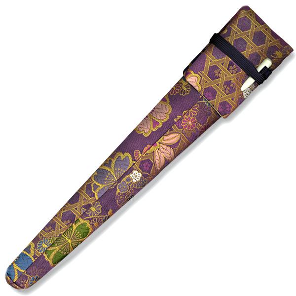 舞扇子 袋 ケース モデル着用&注目アイテム 容れ物 舞扇用 驚きの値段 大桜籠目紋 紫 化繊金襴