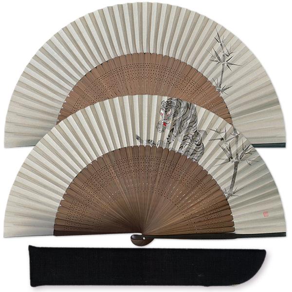 高級ギフト男性用扇子セット 竹に虎/手描き京扇子