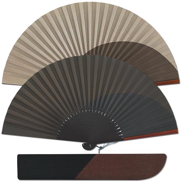高級ギフト男性用京扇子セット 本格漆塗稜線/焦茶黒
