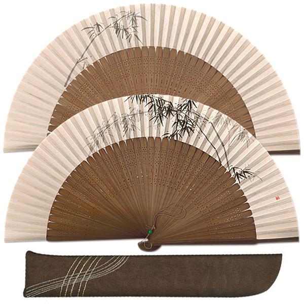 高級ギフト男性用扇子セット 墨絵竹 手描き京扇子