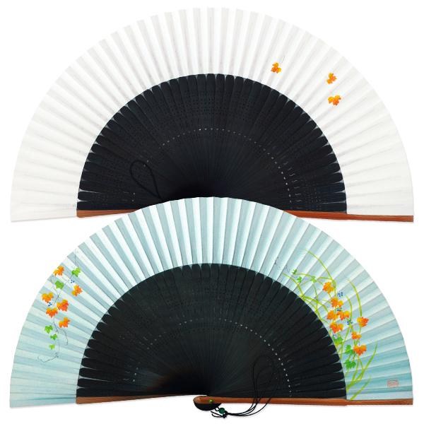 女性用京扇子★つた/45間短地高級手描き扇子
