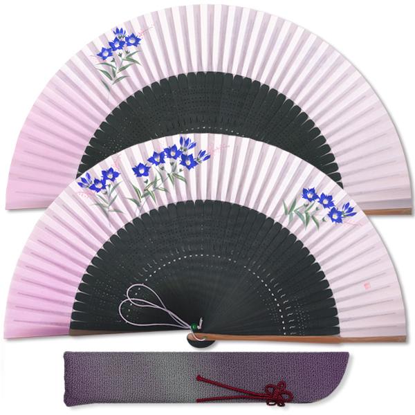 高級ギフト女性用扇子セット★りんどう 紫/扇子袋付き