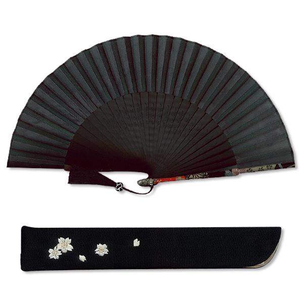 高級ギフト女性用扇子セット/華洛 黒/京扇子