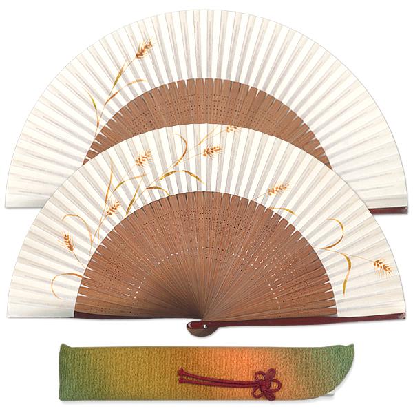 高級ギフト女性用扇子セット 麦 扇子袋付き/手描き京扇子