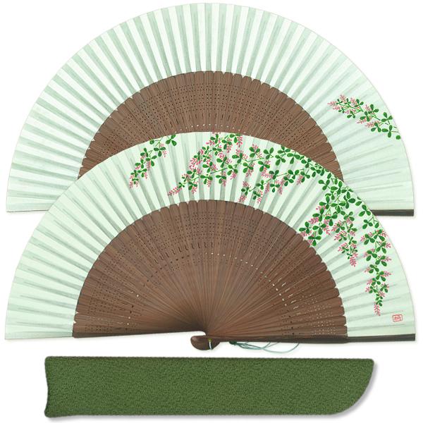 女性用セット扇子 萩 扇子袋付き/手描き京扇子