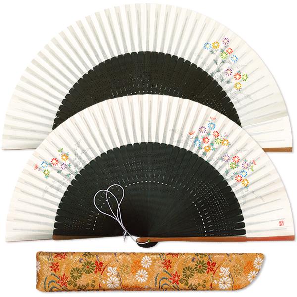 高級ギフト女性用扇子セット 小菊/扇子袋付き