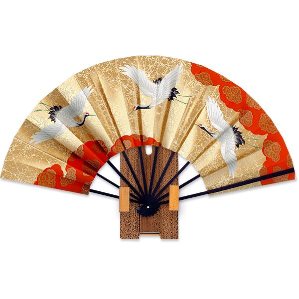 外国へのお土産飾り扇子 9寸鶴/ゴマ竹台付き