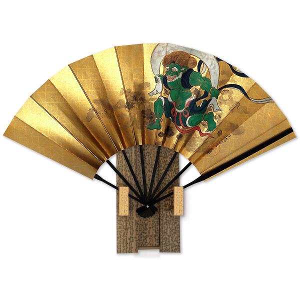 飾り京扇子 宗達風神図/台付き