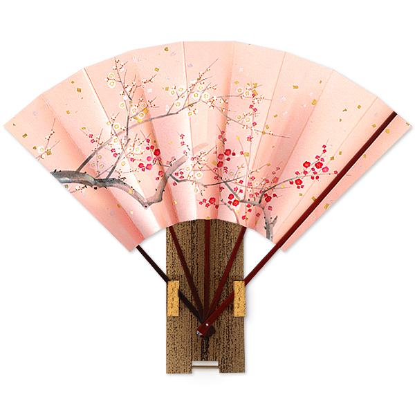 高級飾り京扇子 紅白梅/台付