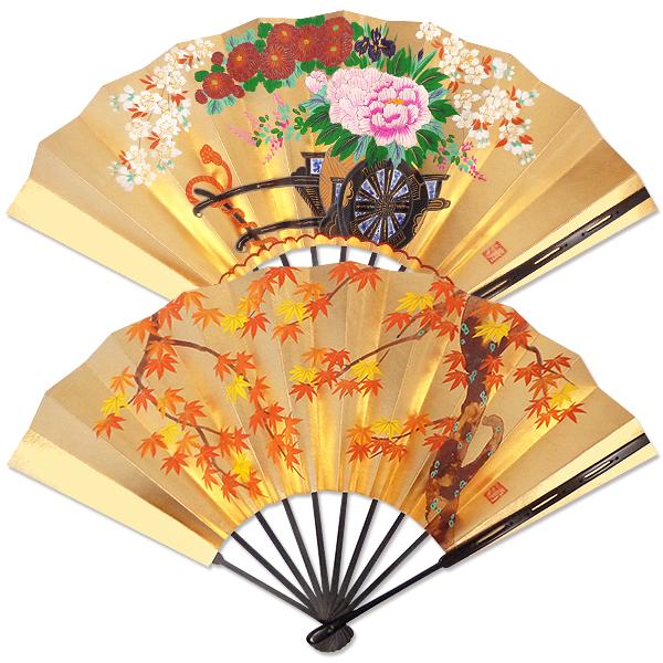 飾り京扇子 高級仕舞扇子手描き 紅葉/花車 飾り