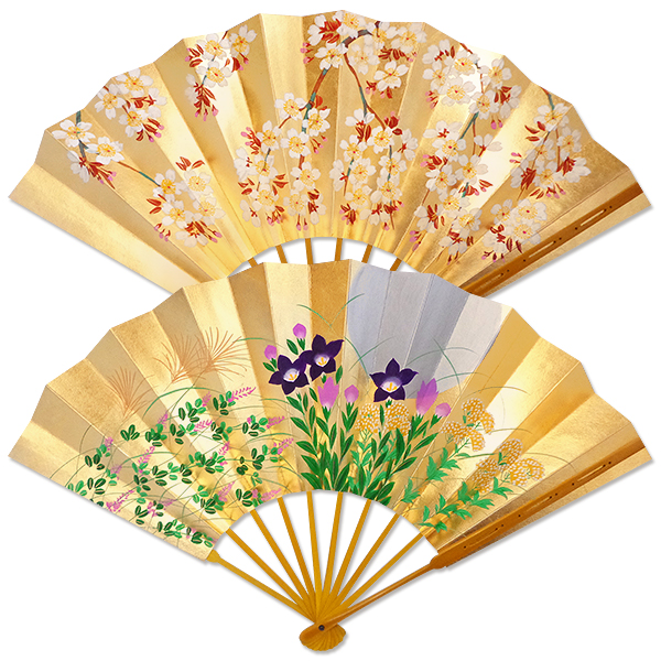 飾り京扇子 高級仕舞扇子手描き 月に秋草/桜 飾り