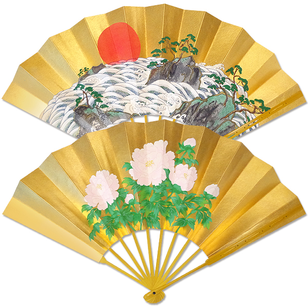 飾り京扇子★高級仕舞扇子 白波に日の出/牡丹 飾り