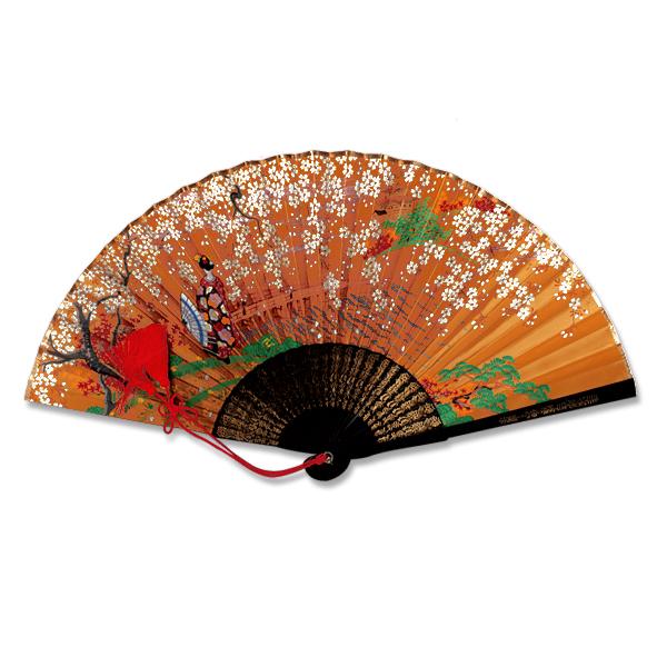 飾り京扇子★手描きサテン扇子/舞扇型 桜金閣に舞妓 金茶/29cm