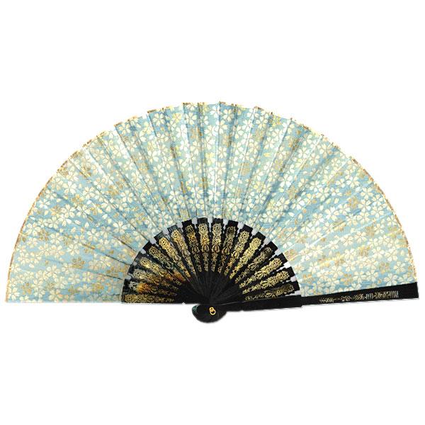 飾り京扇子/金襴櫻 水色/25cm