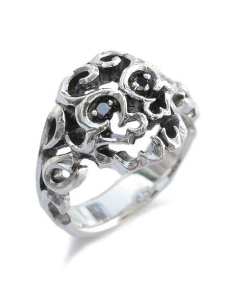 【※ポイント5倍※】GARDEL(ガーデル)【Ruffin Skull Ring [GDR-046] / ラッフィン スカル リング】[正規品](指輪/天然ブラックダイヤモンド/シルバー925/スターリングシルバー/宝石/ペア/プレゼント/ギフト/ユニセックス/メンズ/レディース)【送料無料】