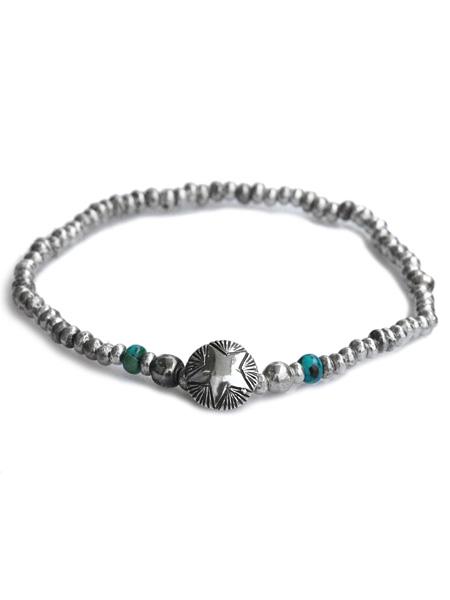 【※ポイント5倍※】Sunku(サンク)Star Concho Beads Bracelet / [SK-207] スター ビーズ ブレスレット ターコイズ コンチョ シルバー グリーン トルコ石 天然石 宝石 銀 緑 メンズ レディース【送料無料】
