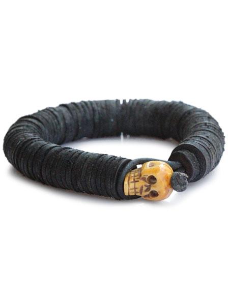 【※ポイント5倍※】gbb custom leather(gbb カスタム レザー)【Leather Beaded Skull Bangle (Black) / レザー ビート スカル バングル (ブラック)】[正規品](カフブレスレット/ビーズ/ドクロ/髑髏/革/黒/ギフト/ユニセックス/メンズ/レディース)【送料無料】