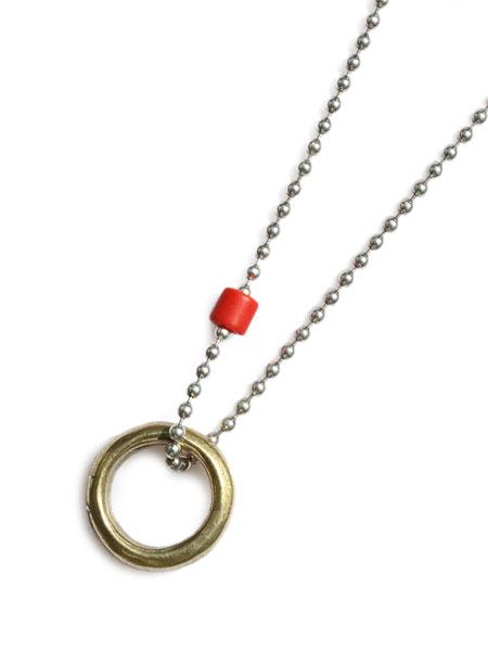 【※ポイント5倍※】GILES & BROTHER(ジャイルス・アンド・ブラザー)【African Brass Ring On Sterling Silver Ball Chain / アフリカン ブラス リング オン スターリング シルバー ボール チェーン】[正規品](ネックレス/プレゼント)【送料無料】