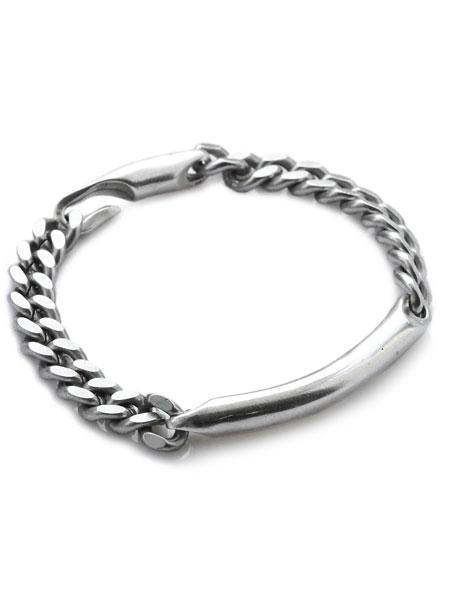 GILES & BROTHER(ジャイルス・アンド・ブラザー)【ID Chain Bracelet(Silver Ox) / アイディー チェーンブレスレット (シルバー オキシダイド)】[正規品](ブレスレット/ヴィンテージ/クラシック/真鍮/喜平/銀/ペア/プレゼント/メンズ/レディース)【送料無料】