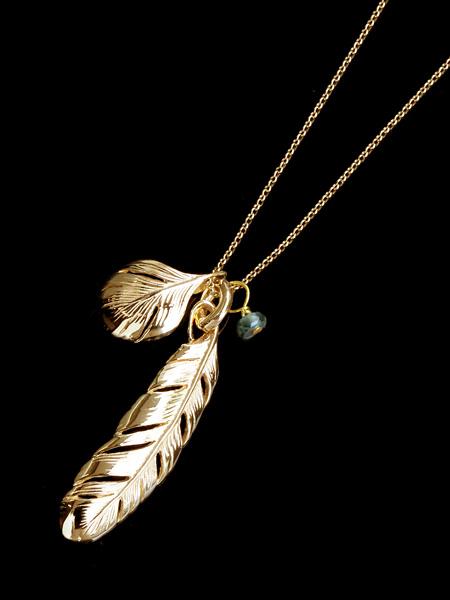 【※ポイント5倍※】HARIM(ハリム)New Leaf Feather VERY SHINE K10 / [HRP080V K10] フェザー ネックレス ゴールド ペンダント メンズ レディース【送料無料】