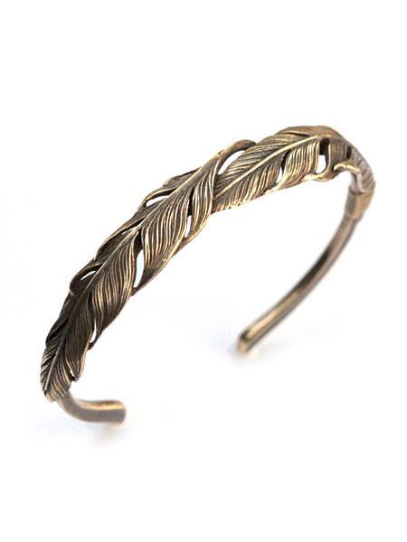 【※ポイント5倍※】HARIM(ハリム)Double Feather Bangle (Brass) / [HRA034BR] バングル ブレスレット ブレス カフ フェザー アンティークゴールド メンズ レディース【送料無料】