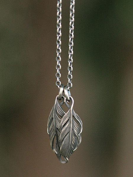 【※ポイント5倍※】HARIM(ハリム)Double Feather Necklace / [HRP073 S] フェザー ネックレス ペンダント シルバー メンズ レディース【送料無料】