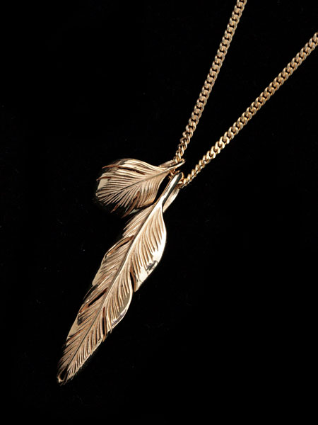【※ポイント5倍※】HARIM(ハリム)Slender feathers Very shine Necklace GP / [HRP104GP] ネックレス フェザー ペンダント ゴールド メンズ レディース【送料無料】
