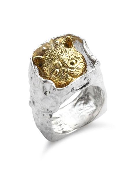 【※ポイント5倍※】HOASHI YUSUKE(ホアシユウスケ)【ダダ 紙袋に入った猫のリング (シルバー × ゴールド)】[正規品](指輪/ネコ/キャット/スクエア/四角/銀/925/ギフト/プレゼント/レディース)【送料無料】