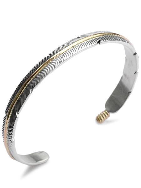 【※ポイント5倍※】Tee Mace(ティー・メイス)【Silver & 12K Gold Filled フェザーバングル / シルバー&ゴールドフィルド】[正規品](カフブレスレット/ナバホ族/羽根/銀/925/腕輪/ネイティブアメリカン/ギフト/プレゼント/ユニセックス/メンズ/レディース)【送料無料】