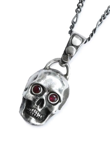 【※ポイント5倍※】Lee Downey(リーダウニー)Skull Necklace Stone Eyes / スカル ネックレス ペンダント ガーネット オニキス 宝石 シルバー ドクロ メンズ レディース【送料無料】
