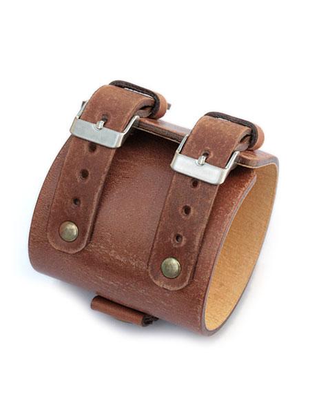【※ポイント5倍※】gbb custom leather(gbb カスタム レザー)JD Platoon Cuff プラトーン カフ / レザー ブレス バックル ベルト 革 ヴィンテージブラウン 茶色 メンズ レディース【送料無料】