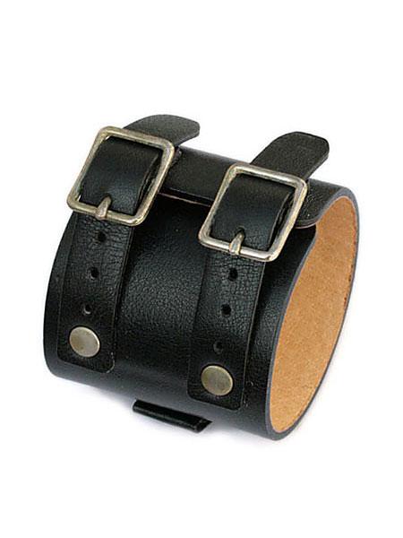 【※ポイント5倍※】gbb custom leather(gbb カスタム レザー)JD Cuff Bracelet JD カフ ブレスレット (ブラック) / レザー 革 黒 ブレス バックル ベルト メンズ レディース【送料無料】